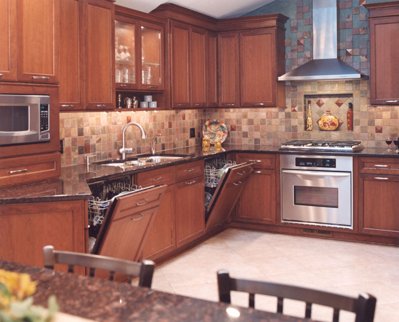 Transitional Kosher Kitchen With Cherry Cabinets In