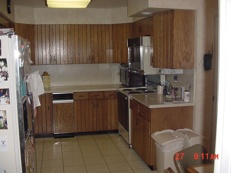Before - Kosher kitchen design with refrigerator on an angle, Skokie, IL