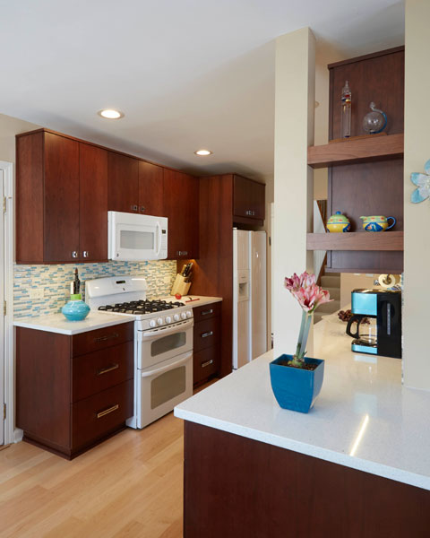 Small kitchen with white range and microwave, Northbrook, IL