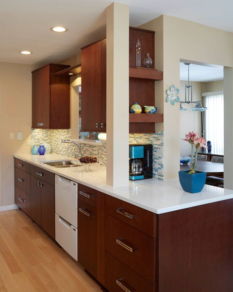 Contemporary dark cherry kitchen cabinets, Northbrook, IL