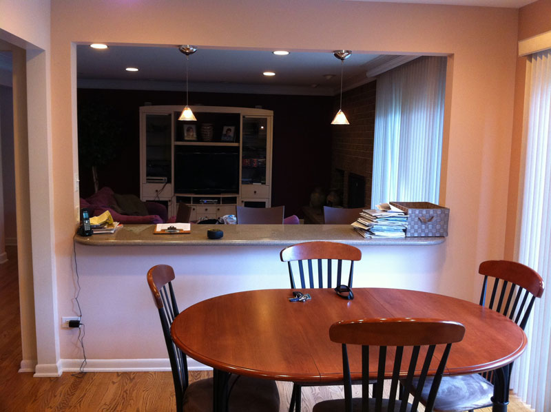 Before Kitchen and great room, contemporary kitchen design, Northbrook, IL