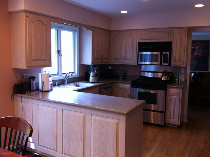 Before Contemporary Kitchen with peninsula, Northbrook, IL