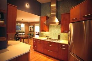 Contemporary kosher kitchen with stainless steel hood, Skokie, IL