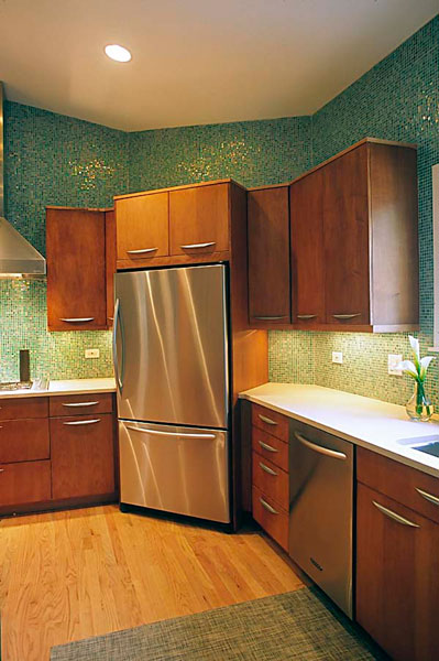 Kitchen with Refrigerator in the corner on an angle, Skokie, IL