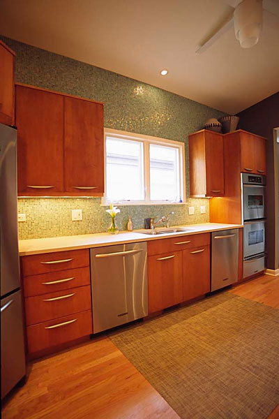 Contemporary Kosher kitchen with double sink and two dishwashers, Skokie, IL