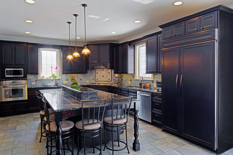... Kitchen with Dark Cabinets and Dark Countertops in Skokie, IL  Dream