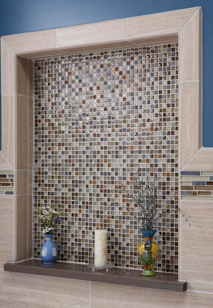 Decorative niche with glass mosaic tile in Riverwoods, IL