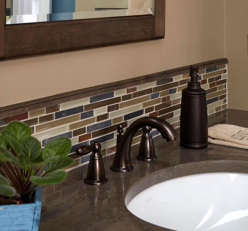 Glass mosaic bathroom backsplash in Riverwoods,