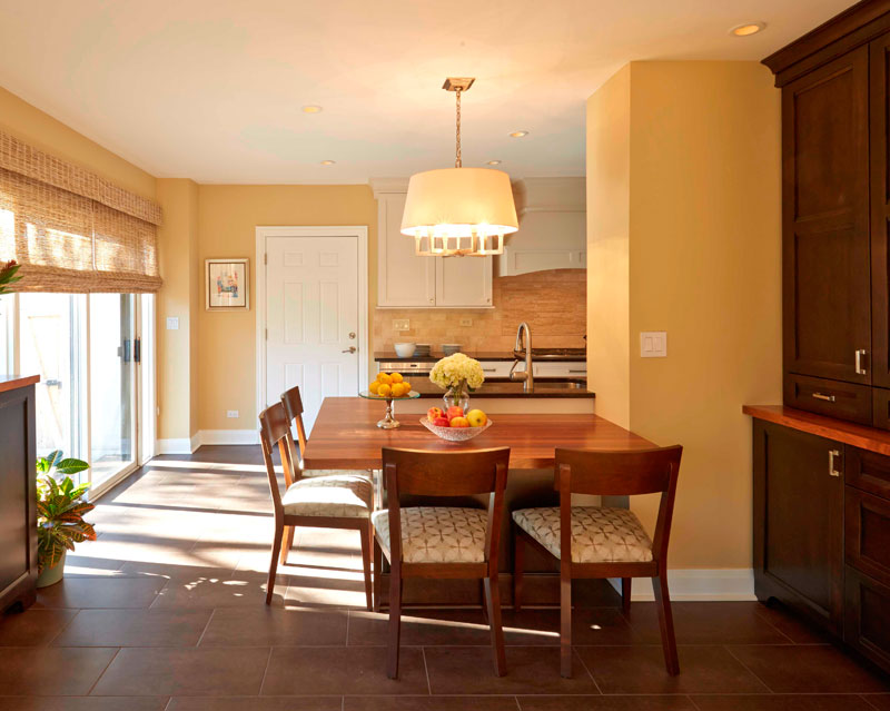 Kitchen design with Solid walnut wood table top, Highland Park, IL