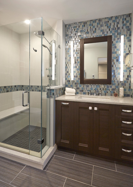 Contemporary Bathroom with Blue Accents in Skokie, IL 1