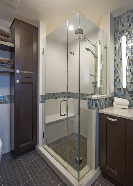 Contemporary Bathroom with Blue Accents in Skokie, IL 2
