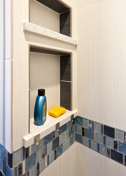 Contemporary Bathroom with Blue Accents in Skokie, IL 3