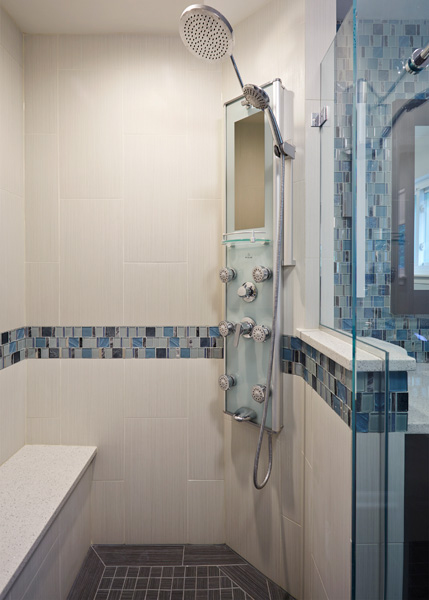 Contemporary Bathroom with Blue Accents in Skokie, IL 4