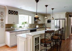 Traditional Kitchen with Painted Linen Color Cabinets in Deerfield, IL