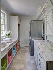 Painted Warm Grey Laundry Room in Winnetka