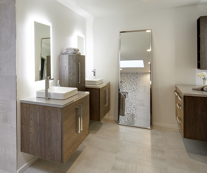 master bath with wall-hung vanities