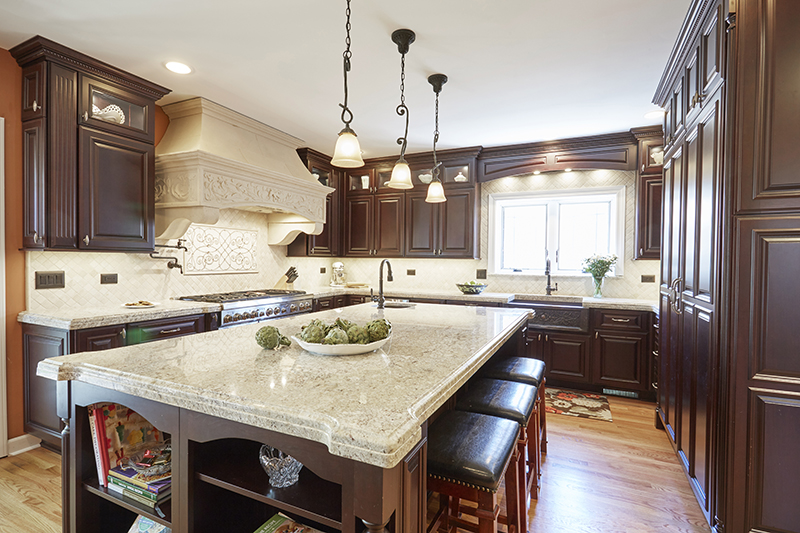 Kitchen with stone hood