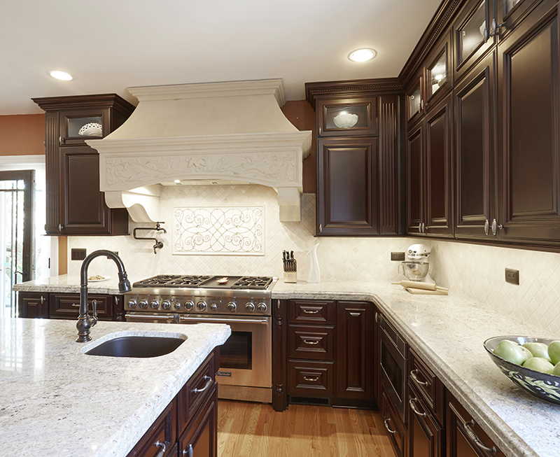 Traditional kitchen island with prep sink