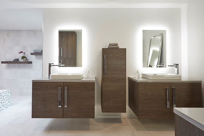 master bath with wall hung vanities