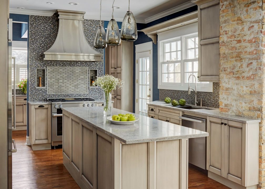 Grey Custom Kitchen And Butlers Pantry In Old House In