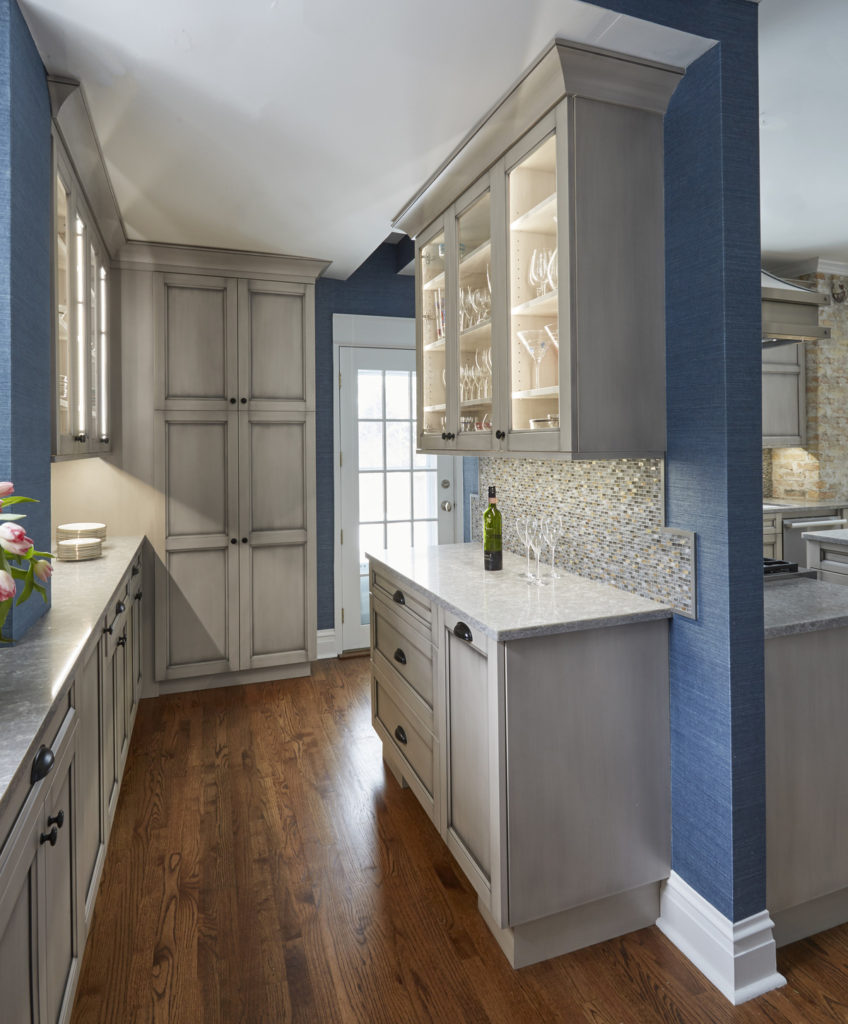 Old Room At Dusk: Grey Custom Kitchen And Butlers Pantry In Old House In